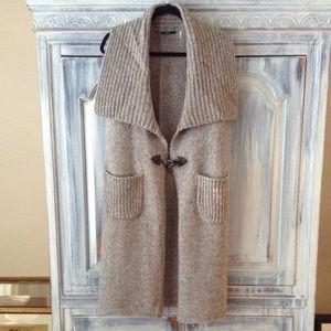 Tahari Long Gray Sweater Vest